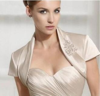 Euroeapn American Style Short Sleeves With Beadings Wholesale/Retail Price Ivory Satin Bridal Jacket 100% Good Quality