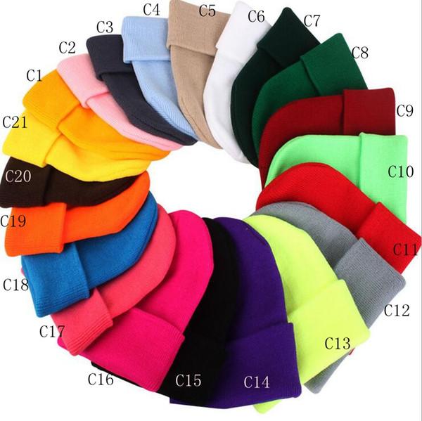 top popular Winter Korean Casual Set Head Men Women Knit Cap Gray Blue Black White Red Elastic Warm Wool Hat ZZA1457 2019