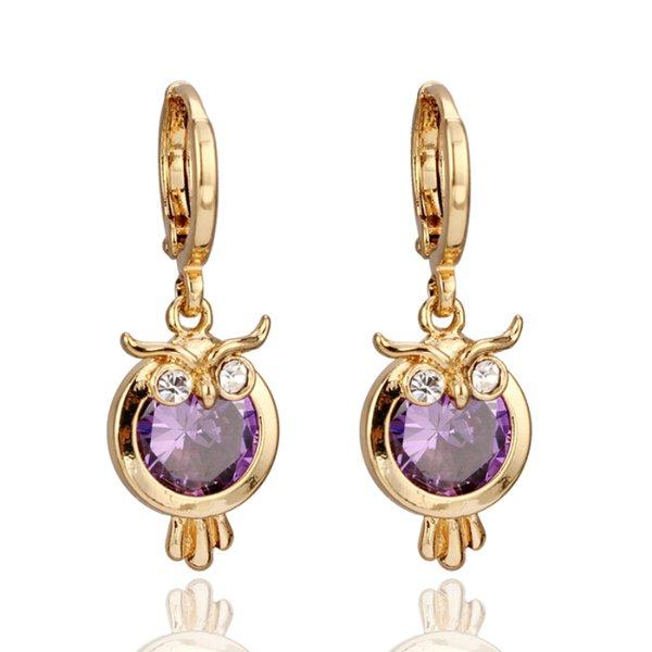Cadeau Chaud Animal Bijoux Cubic Zircon CZ 18 K Or Jaune Plaqué Owl Dangle Earrings pour Femmes
