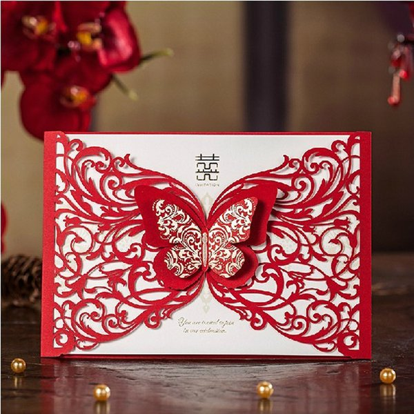 Double Butterfly Lace Wedding Invitations Red Chinese Marriage