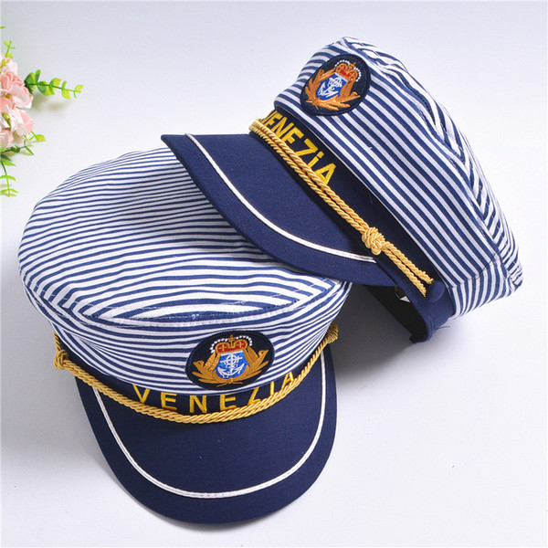 New Striped Navy Cap for Adult Children Fashion Military Captain Hats Caps Women Men Boys Girls Sailor Hats Army Naval Caps berets