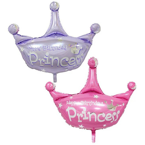 50pcs/lot pink and purple helium baloon princess crown foil balloons for happy birthday party decoration globos