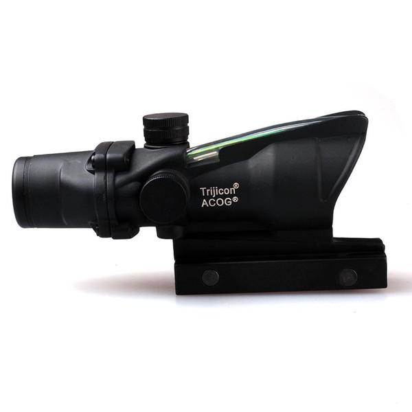 ACOG 4X32 Style Optical Tactical Scope Vera Fibra Ottica Rosso Crosshair Reale Rosso o Verde Fibra Source Duello Illuminato Portata del Fucile