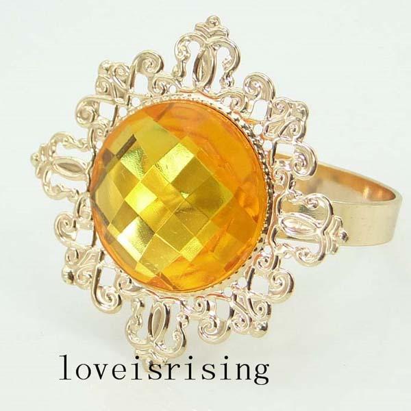 50PCS/Lot Vintage Style sparkling gold Acrylic GEM Gold Plated Napkin Rings Wedding Dinner Decoration Serviette Holder