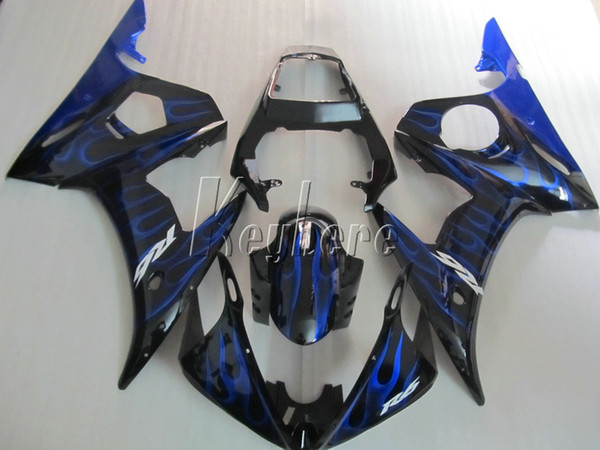 Top selling moto parts fairing kit for YAMAHA R6 2003-2005 blue flames black fairings set YZF R6 03 04 05 IY19