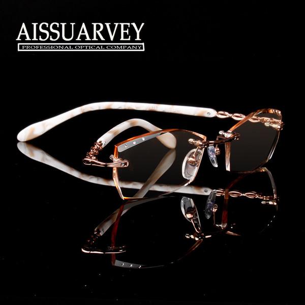 Vente en gros - Lunettes de vue femmes optique de mode lunettes de vue marque designer prescription sans monture diamant strass élégante coupe