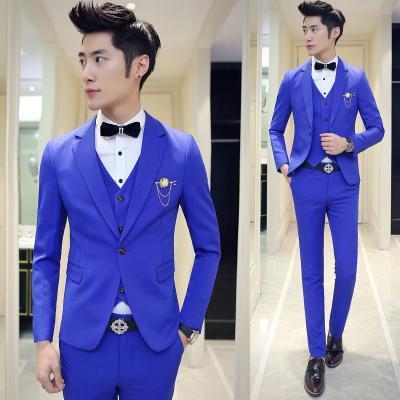 Wholesale- Mens Suits With Pants Boys Graduation Prom 3 pieces (Jacket+Vest+Pant) Wedding Suit for Men Slim Fit Terno Masculino Royal Blue