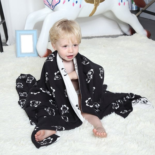 Novelty Gift Multi Purposed Cute Black White Panda Pattern Reversible  Knitted Baby Kids Throw Blanket Wrap Photography Props Pale Yellow Throw  Blanket