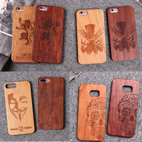 2f2b31c591b Estuche de madera para teléfono PC duro para el bambú para el iPhone 7 más  6Plus