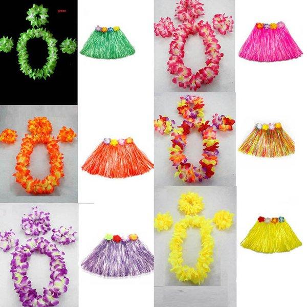 Nuevo 40 cm Longitud Mujer Guirnalda hawaiana Guirnalda Leis Collar Lei Grass Dance Fiesta en la playa Flor Hula Disfraz Decoración de boda