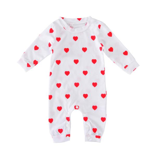 5e0761b4de9 Baby loving heart printing onesie toddlers cute red loving heart printed  white romper for 0-12M boys girls