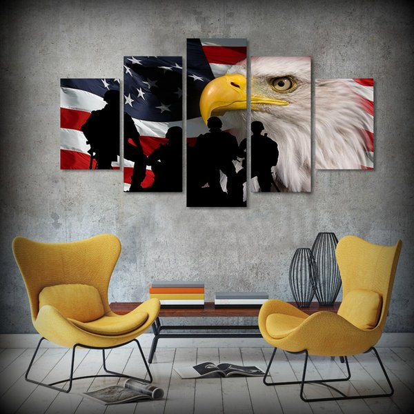 5 Pcs/Set Framed HD Printed Rustic USA Flag Eagle Picture Wall Art Canvas Print Poster Artwork Modern Canvas Oil Painting