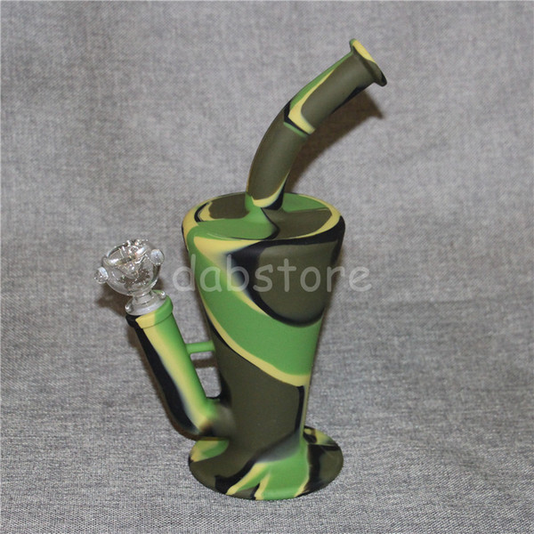 2017 Silicone Oil Rigs Beaker Bong Glass Water Pipe with Glass bowl and Down Stem High Quality Silicon Rig 9 Colors for Choose