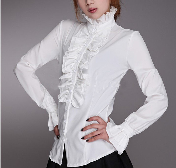 Customized 2016 New Cotton High Neck Frilly Womens Vintage Victorian Ruffle Top Shirt Blouse,Fashion Blouses For Women
