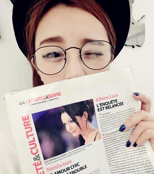 Toptan- Kore metal büyük yuvarlak gözlük çerçevesi moda erkek kadın düz ayna gözlük markası ücretsiz nakliye