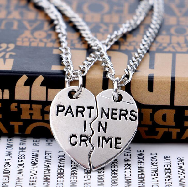 New friend good friend partner in crime necklace simple friendship witness WFN010 (with chain) mix order 20 sets a lot 1set=2 pieces