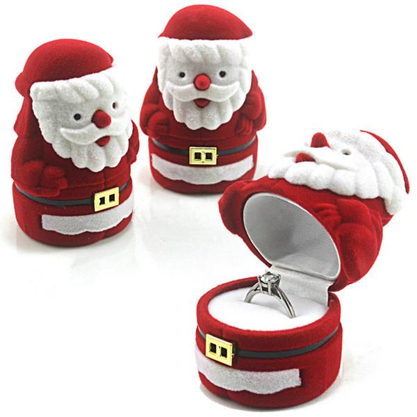 Boîte à bijoux Velours Rouge Père Noël Design Cadeau de Noël Bague Boucle d'oreille Oreille Collier Collier Boîte à bijoux Boîte à bijoux Organisateur