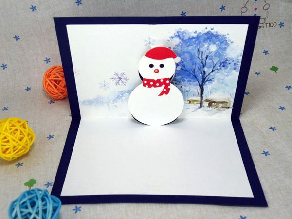 3D Snowman Xmas Festival Tarjetas de felicitación Pop Up Christmas Cards