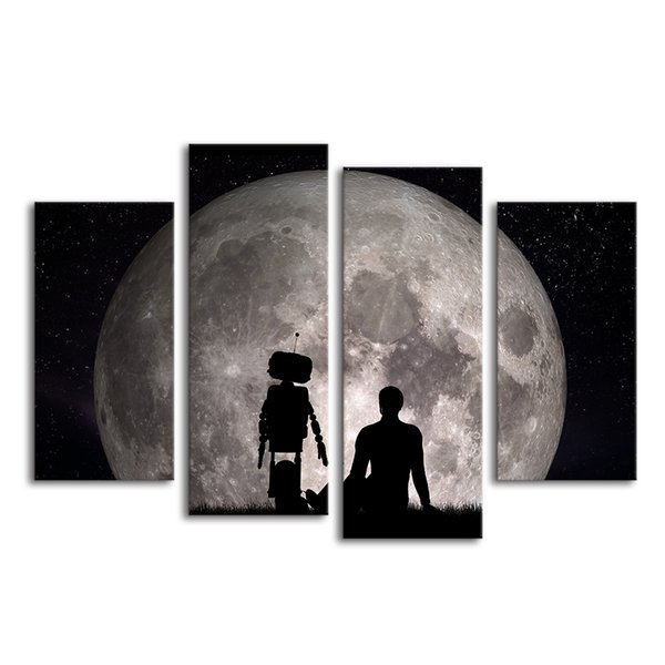 4 Pieces Nature Scenary Canvas Painting Super Moon Canvas Wall Picture HD Photo Prints Unframed/SJMT1854