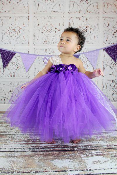 Nueva llegada Purple Tutu Kids Vestidos del desfile de un hombro de encaje Tulle hechos a mano Vestidos de niña de las flores Hermoso Baby Desfile vestidos de niña de las flores