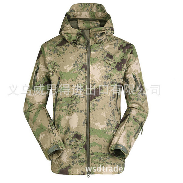 HOT 2017 ESDY outdoor Winter Soft Shell Camouflage TAD Sharkskin Jacket Men Waterproof Fleece Zipper Multi-Pocket Tactical Army Hoodies