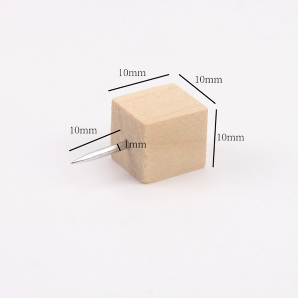 best selling 200 pcs Square Wood Push Pins,Decorative Push Pins Thumb Tacks for Cork Board free shipping