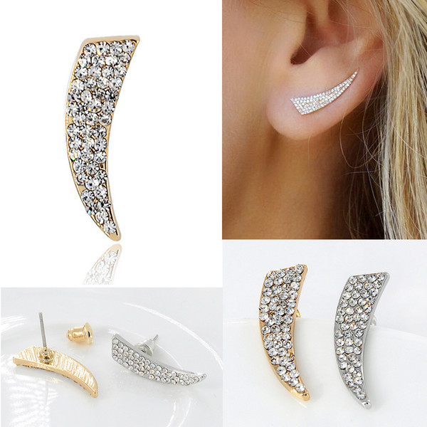 Punk Trendy Crystal Rhinestone Knife Shaped Stud Earrings for Women Simple Metal Geometric Spike Earrings Gold Silver Plated Fashion Jewelry