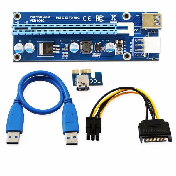 VER 006C Carte PCI Express PCI-E PCI Express Riser 1 à 16 fois sur PCI-E Alimentation 6 broches pour câble de machine BTC Miner
