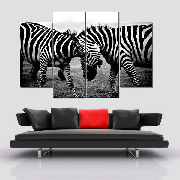 Due quadri di Dueling Zebre senza cornice 4 pezzi (senza cornice) Printd su tela di arte moderna Home Wall Art, stampa HD Picture Picture