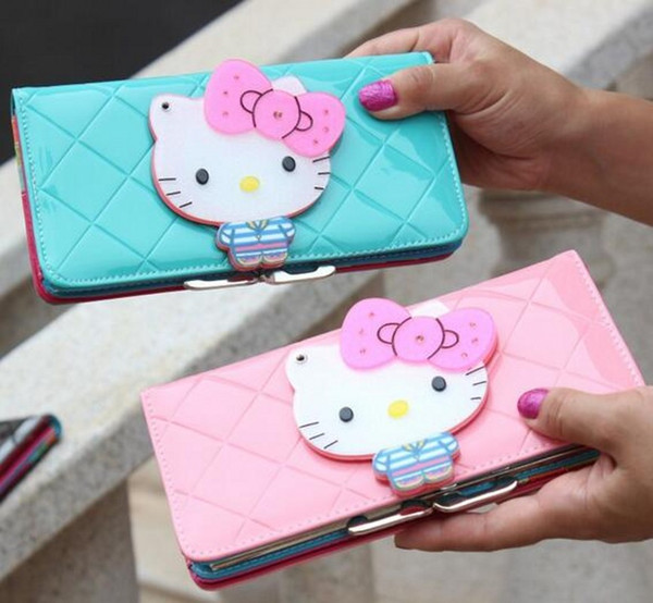 Wholesale- Hello kitty long famous brand designer purse luxury female wallet women leather wallets for women clutch portefeuille femme