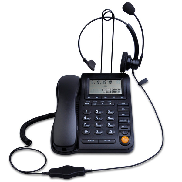 Leeker Lk P017b Call Center Home Office Corded Phone And Headset ...