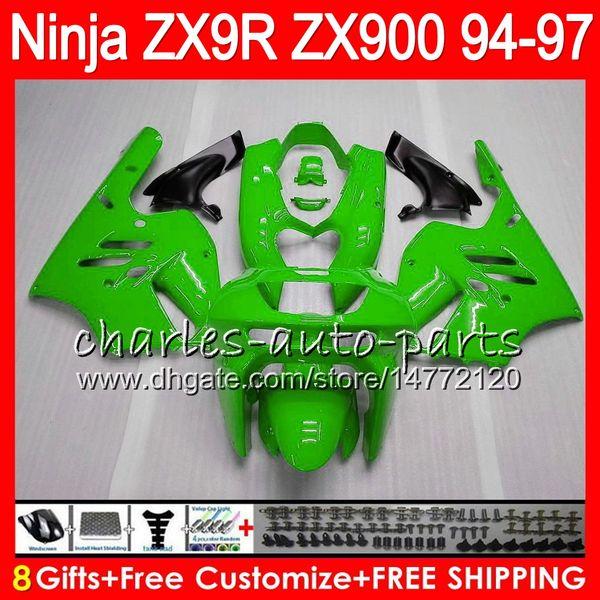 8Regalos 23Colores para KAWASAKI NINJA ZX900 ZX9R 94 95 96 97 900CC 49HM23 verde brillante ZX-9R ZX900C ZX 9 R ZX 9R 1994 1995 1996 1997 Kit de carenado
