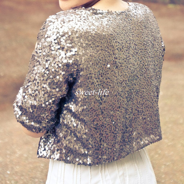 Luxury Shiny Silver Grey Half Sleeve Sequined Bridal Jackets 2017 Shrug Formal Women Country Wedding Coats Boleros Wedding Accessories