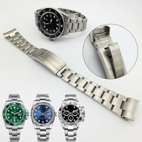 top popular Watchband 20mm 21mm Watch Band Strap Stainless Steel Bracelet Curved End Silver Watch Accessories Man Watchstrap for Submariner Glidelock 2020