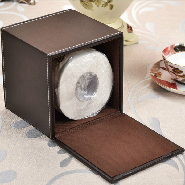 Wholesale- Simple Design Creative PU Leather Tissue Box Holder Office Home Room / Car /Toilet Waterproof Roll Paper Case Tissue Box
