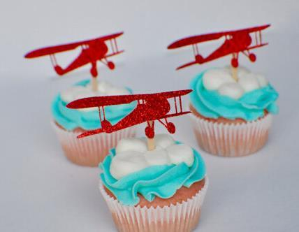 Custom glitter Airplane Silhouette cupcake toppers Bachelorette Hem night Party Supplies wedding birthday baby shower party Decoration