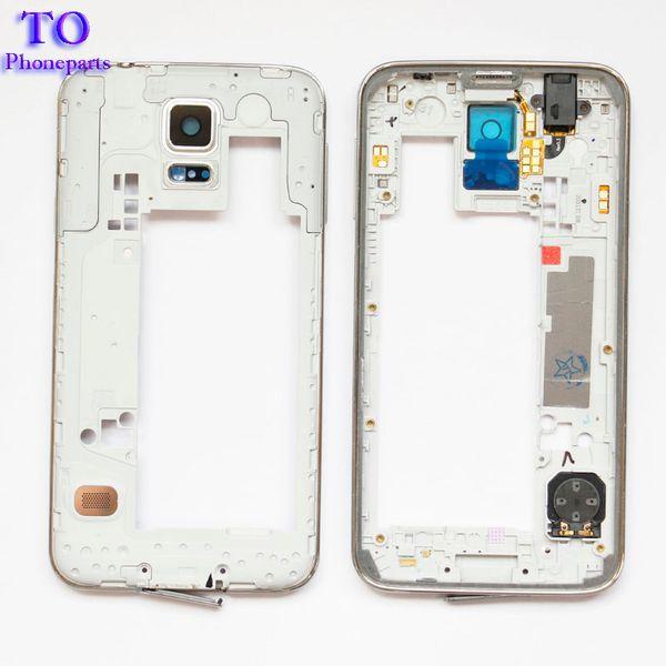 50pcs LCD 중간 격판 덮개 주거 구조 Samsung Galaxy S5 G900F G900M G900H G900A G900V G900T를위한 베젤 카메라 덮개 교체 부분