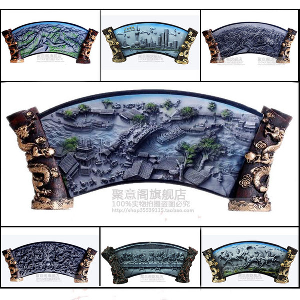 The crystal Chinese relief decoration painting painting features studio ornaments gifts souvenirs