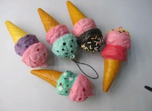 Free Ship 30pcs 10CM Duotone Cute Squishy Icecream Food Charm Cell Phone Straps Fashion Squishies Pendant Chirstmas Gift
