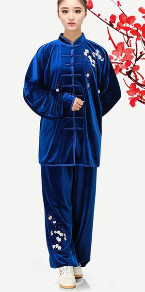South Korea velvet embroidery tai chi suits practice clothing autumn and winter thick embroidery plum blossom men and women gold velvet mart