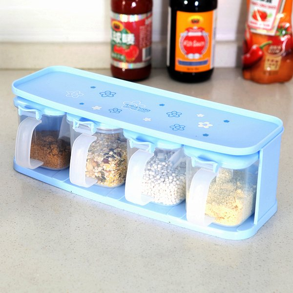Plats en gros pour épices Pots à épices en plastique Type de tiroir approvisionné Boîte d'assaisonnement Couteau Fox Stockage de la vaisselle avec une cuillère 4 Pc / jeu de boîtes