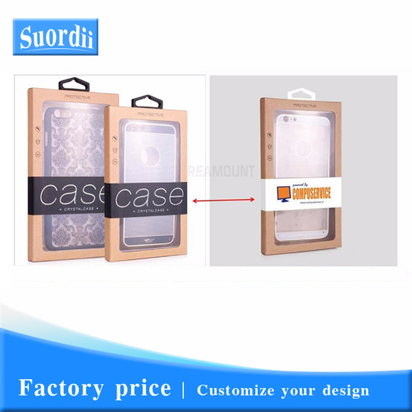 Customize Logo Universal Phone Case Cover Kraft Paper Packaging For iPhone 8 Window Display retail packaging