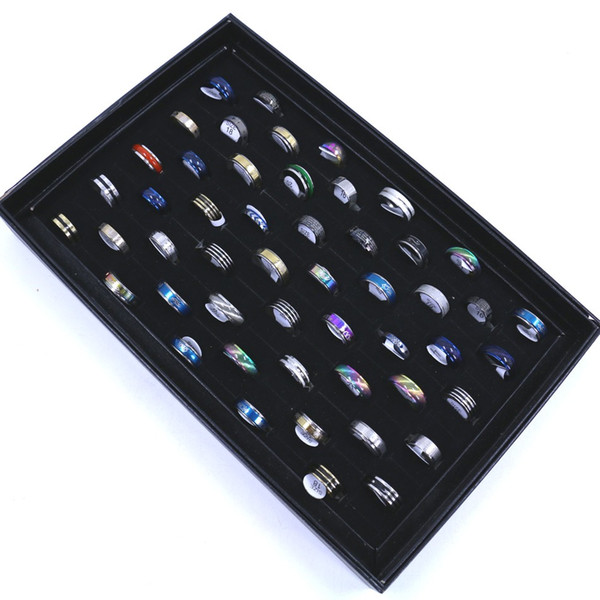 Ücretsiz Kargo erkek Moda Sevimli Paslanmaz Çelik Parmak Yüzük Karışık Tasarımlar Ve Boyutları Renkler rastgele 50 adet / kutu Ambalaj