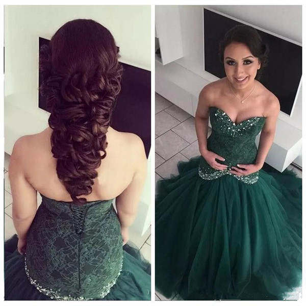 Mermaid Dark Green Evening Dresses Sweetheart Diamonds Beads Lace Tulle Long Formal Dress Party Gowns Custom Size