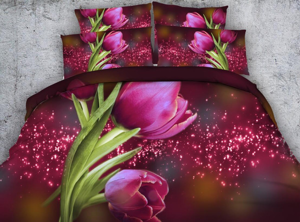Printed 3D Bedding Sets Four Pieces Starlight Tulips Bed Sheet Set Bedclothes Duvet Cover Set Inlcuding Qunee/Kind/California King Size
