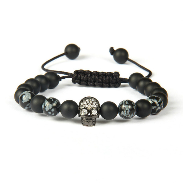 Wholesale 10pcs/lot 8mm Best Quality Matte Agate And Obsidian Stone With Clear Cz Black Skull Macrame Bracelet For Men