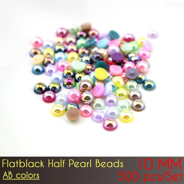 Discount price for half Round flatback ABS faux pearls beads DIY Jewellry Accessories ABS Flat Back Half Pearl Beads 10mm 1000pcs AB Color