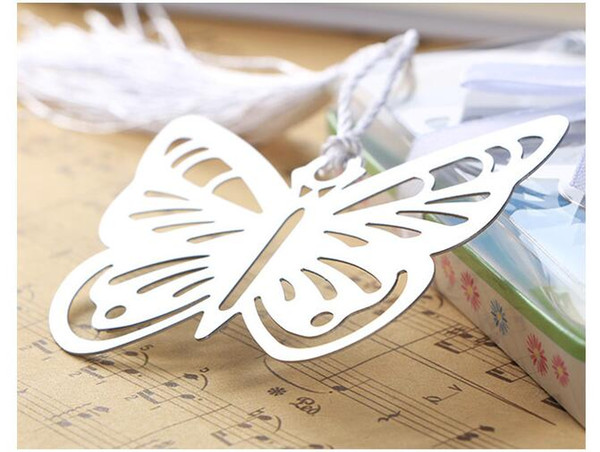 best selling 500pcs Metal Silver Butterfly Bookmark Bookmarks White tassels wedding baby shower party decoration favors Gift gifts Free Shipping