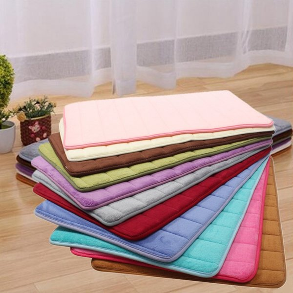 Wholesale  1pc Memory Foam Mat Absorbent Bathroom Mat Pad 11 Colors Doormat  Door Mat Slip