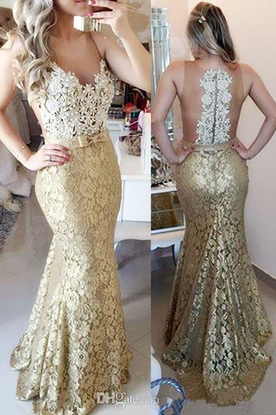 2017 Mermaid Gold Evening Dresses Sweep Train Matched Bow Sash Pearls V-Neck Sheer Lace Formal Prom Party Gowns Vestidos De Fiesta E252